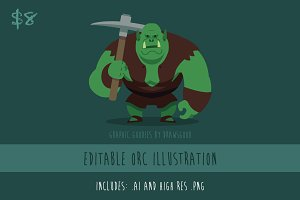 Orc Editable Vector Illustration