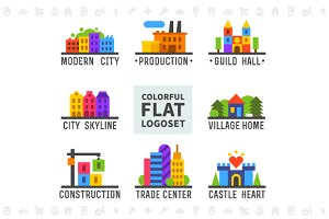Colorful flat logo set. Cityscape