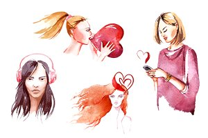 Valentine's girls in love watercolor