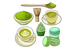 Big set of matcha green tea, food and accessories