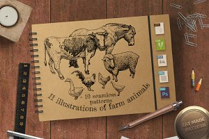 illustration of farm animals