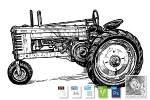 tractor stylized as engraving