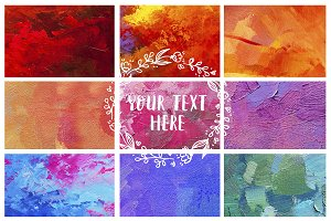 Set of Abstract oil paint texture