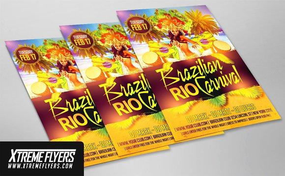 brazilian carnival flyer template flyer templates creative market