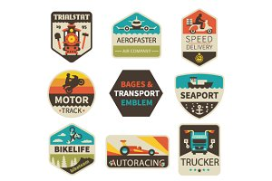 Vintage transport emblems