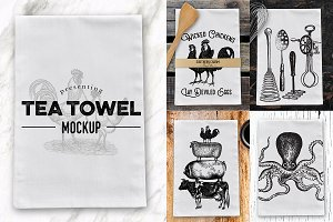 Tea Dish Towel Mockup