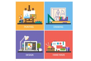 Creativity. Vector flat illustration
