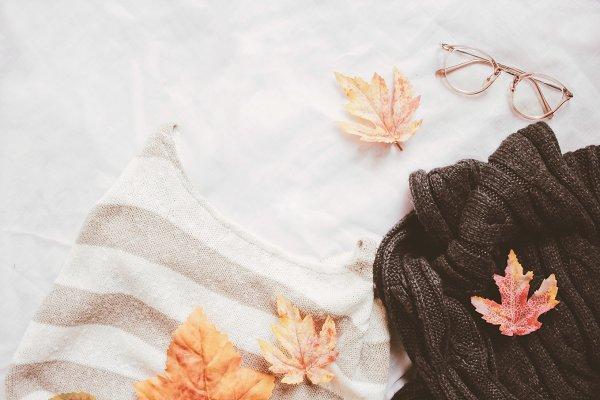 Flat lay of autumn fashion style