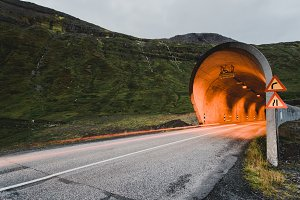 Illuminated Tunnel into the Mountain