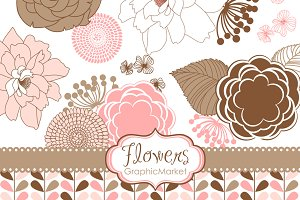 Flower Clip art and Digital paper