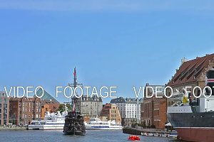 Tourists ride on sailing tour boat, Gdansk, Poland