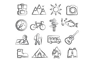 Camping Doodle Icons