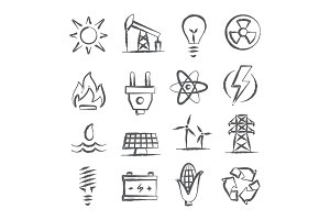 Energy doodle icons