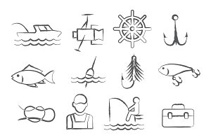 Fishing Doodle Icons