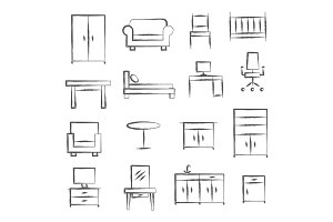 Furniture doodle icons