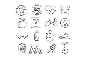Health and Fitness doodle icons