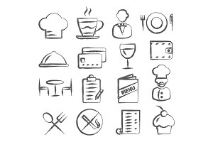 Restaurant Doodle Icons