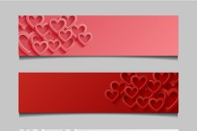 Set of banners with hearts