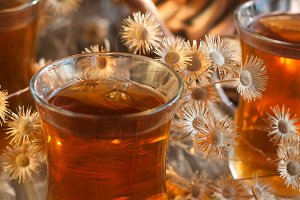 Tea and dry flowers
