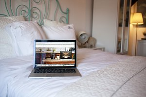 MacBook Pro on the bed