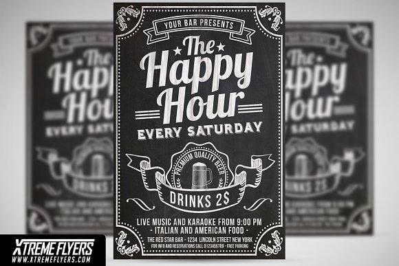 Happy Hour Flyer Template Flyer Templates Creative Market