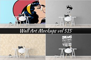 Wall Mockup - Sticker Mockup Vol 515