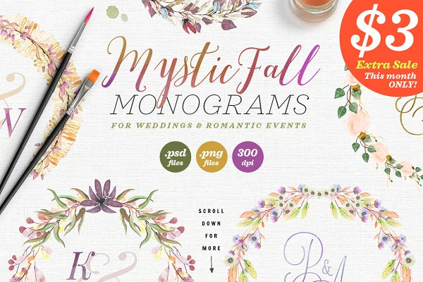 8 Mystic Fall Wedding Monograms VI