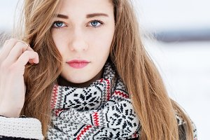 cute young girl in winter