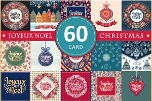 Joyeux Noel. Christmas card. Bundle