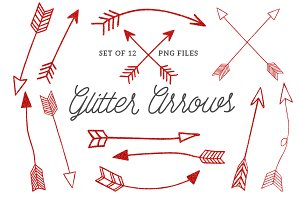 Hand Drawn Red Glitter Arrows