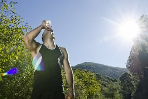 drinking water and sun