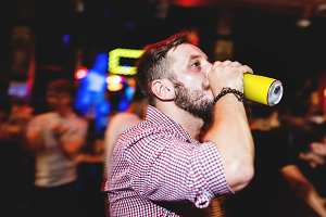 Man drinking baverage