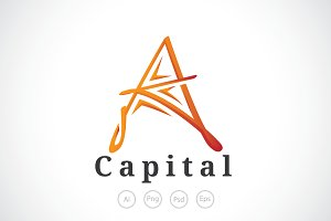 Letter A Capital Logo Template