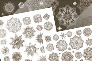 80 vector vintage snowflakes