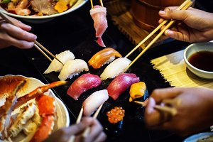 Japanese family dining together