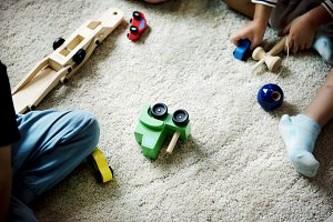 Children playing toys