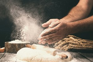 Man preparing bread dough