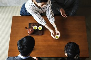 People with Japanese tea ceremony