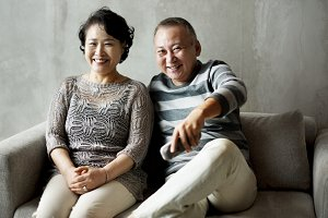 Japanese cheerful senior couple