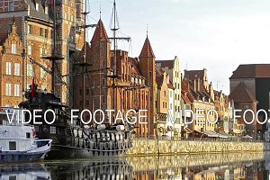 Embankment of Hanseatic port city Gdansk in Poland