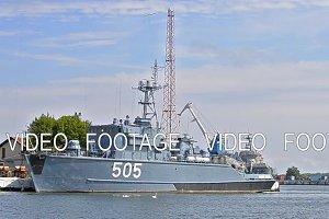 Patrol warship moored at pier in port of Baltiysk