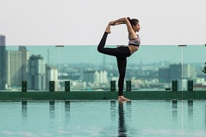 Woman playing yoga