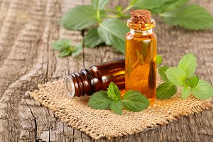 bottle of peppermint oil and fresh mint on an old wooden background