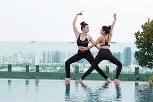 Attractive woman Playing yoga