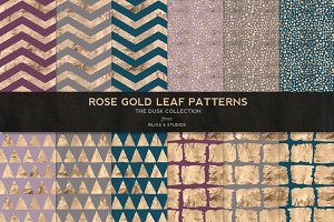 Rose Gold Leaf Digital Patterns No.3