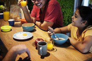Brazilian family eating