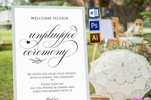 Unplugged wedding sign Wpc350