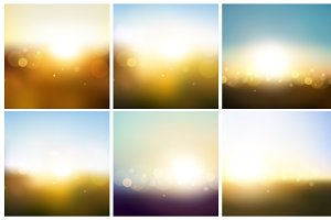 Blurred Vector Background Set