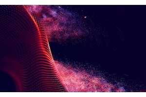Abstract Red Geometrical Background . Connection structure. Science background. Futuristic Technology HUD Element . onnecting dots and lines . digital background with particles .