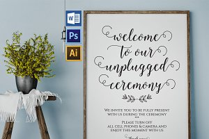 Unplugged wedding sign Wpc353